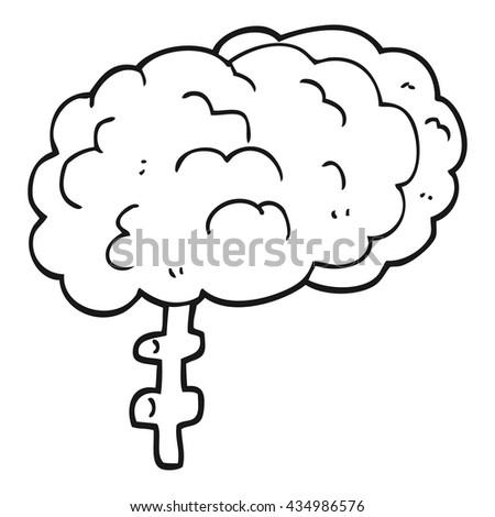 freehand drawn black and white cartoon brain - stock vector
