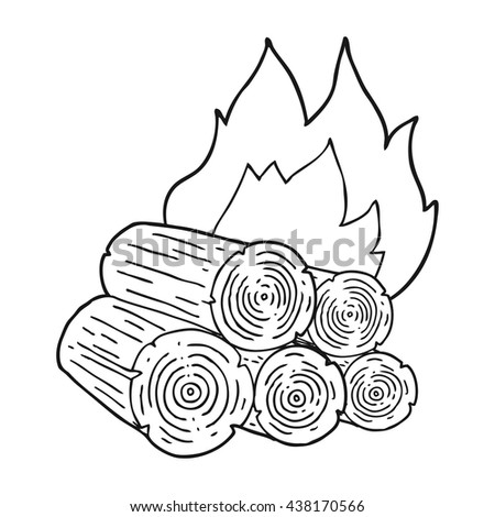 freehand drawn black and white cartoon burning logs - stock vector