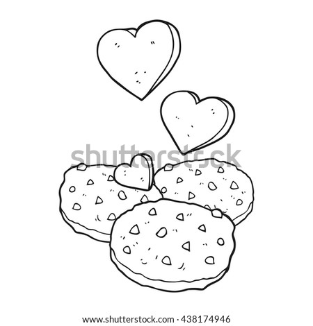 freehand drawn black and white cartoon cookies - stock vector