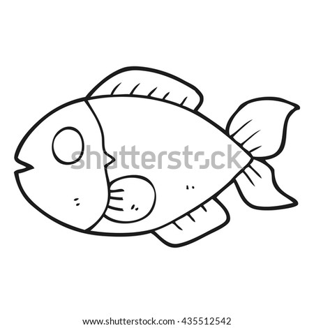 freehand drawn black and white cartoon fish - stock vector