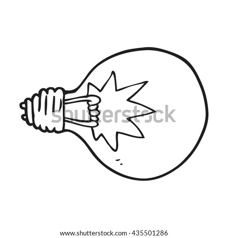 freehand drawn black and white cartoon light bulb