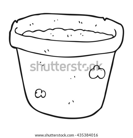 freehand drawn black and white cartoon pot of earth