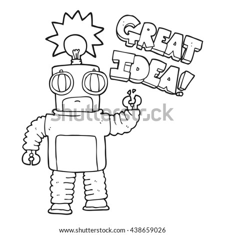 freehand drawn black and white cartoon robot with great idea - stock vector