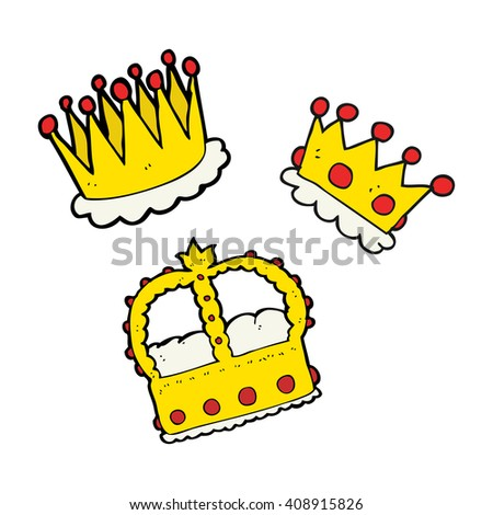 freehand drawn cartoon crowns - stock vector