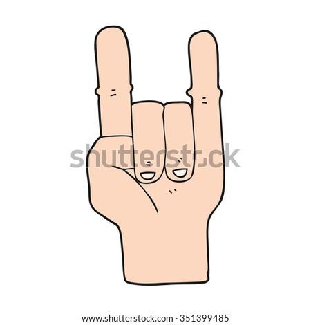 Freehand Drawn Cartoon Devil Horns Hand Stock Vector Hd Royalty