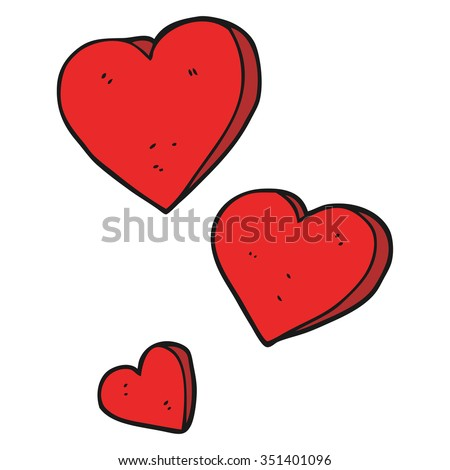 freehand drawn cartoon hearts - stock vector
