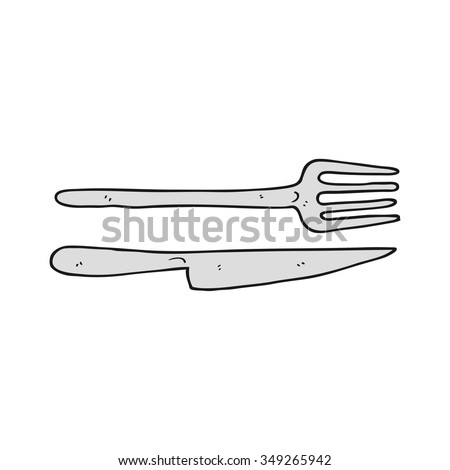 freehand drawn cartoon knife and fork - stock vector