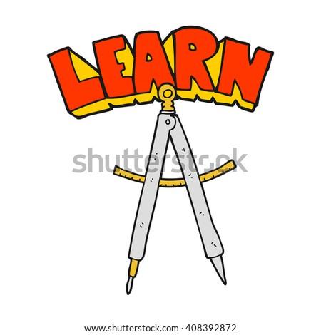 freehand drawn cartoon maths compass - stock vector