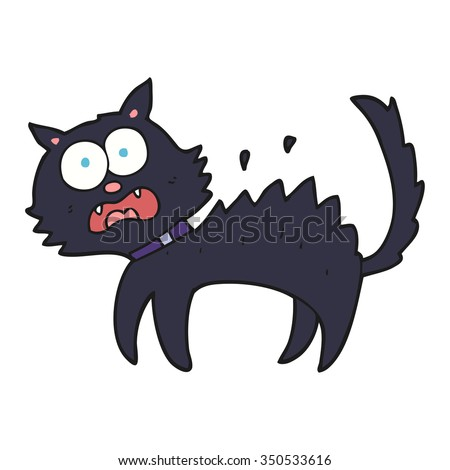 freehand drawn cartoon scared black cat - stock vector