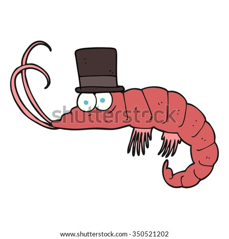 freehand drawn cartoon shrimp - stock vector