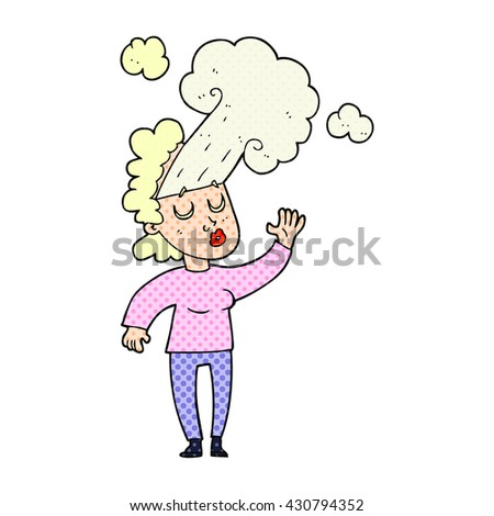 freehand drawn cartoon woman letting off steam - stock vector