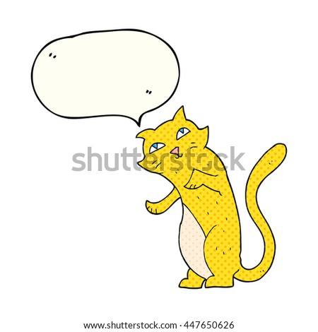 freehand drawn comic book speech bubble cartoon cat
