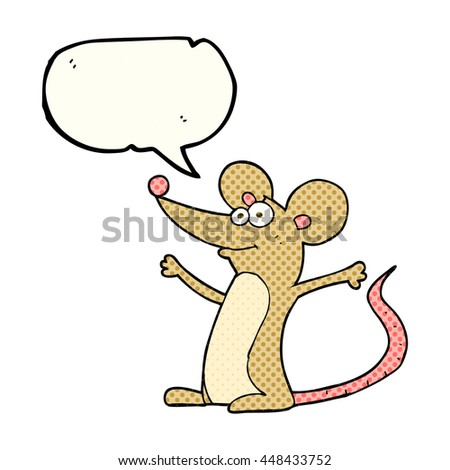 freehand drawn comic book speech bubble cartoon mouse - stock vector