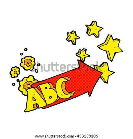 freehand drawn comic book style cartoon ABC symbol - stock vector