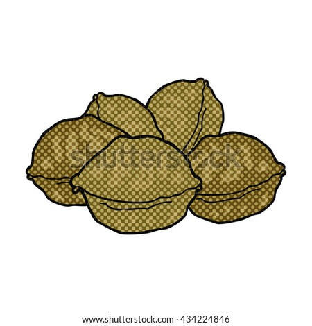 freehand drawn comic book style cartoon walnuts in shell