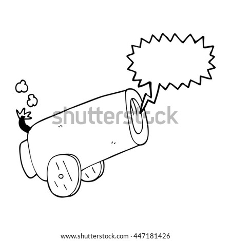 freehand drawn speech bubble cartoon cannon