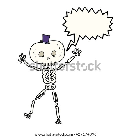 freehand drawn speech bubble cartoon dancing skeleton