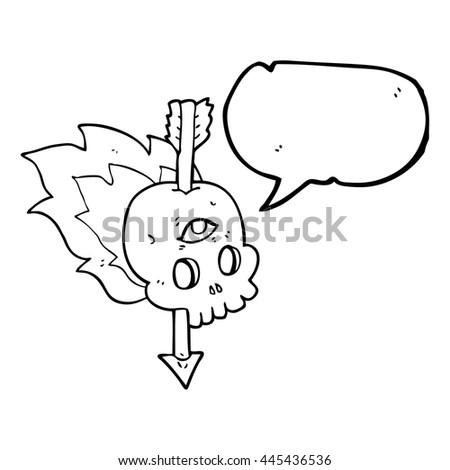 freehand drawn speech bubble cartoon magic skull with arrow through brain - stock vector