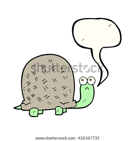 freehand drawn speech bubble cartoon sad turtle