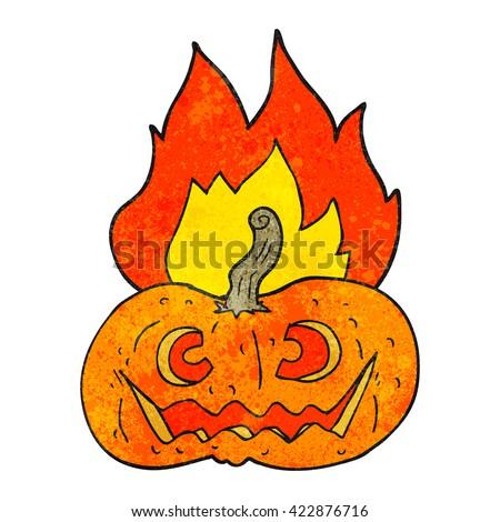 freehand drawn texture cartoon flaming halloween pumpkin - stock vector