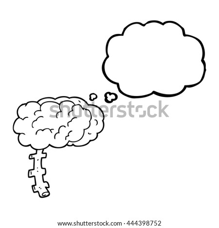 freehand drawn thought bubble cartoon brain - stock vector