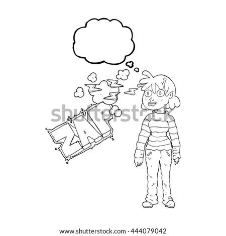 freehand drawn thought bubble cartoon casual alien girl using telepathy - stock vector