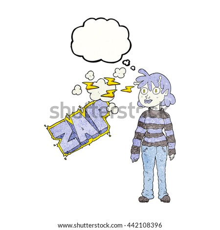 freehand drawn thought bubble textured cartoon casual alien girl using telepathy - stock vector