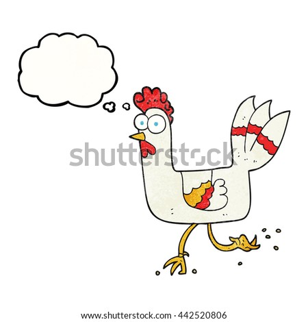 freehand drawn thought bubble textured cartoon chicken running - stock vector