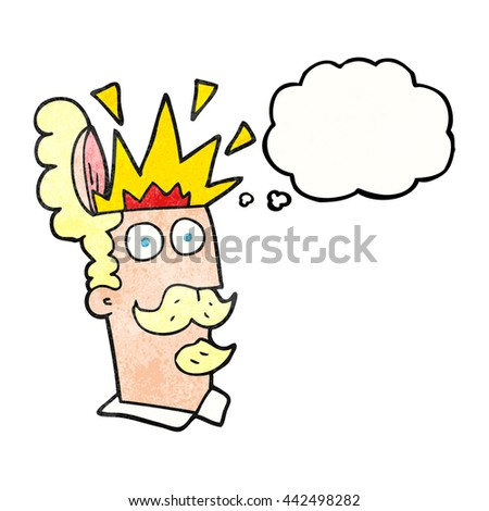 freehand drawn thought bubble textured cartoon man with exploding head - stock vector