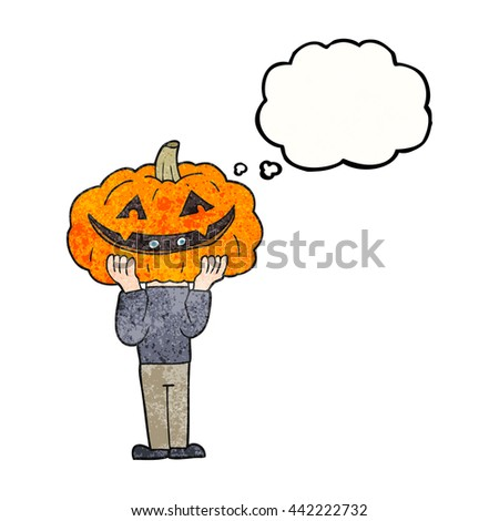 freehand drawn thought bubble textured cartoon pumpkin head halloween costume - stock vector