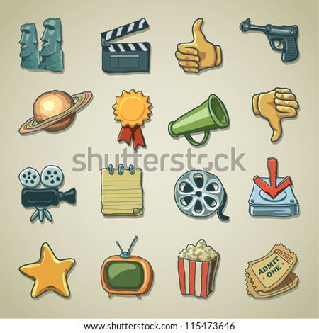 Freehand icons - Movie and Entertainment - stock vector