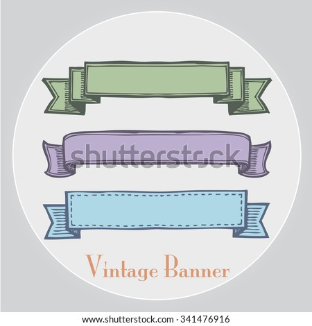 Freehand illustration of set of grunge ribbon banners on white background, doodle hand drawn - stock vector