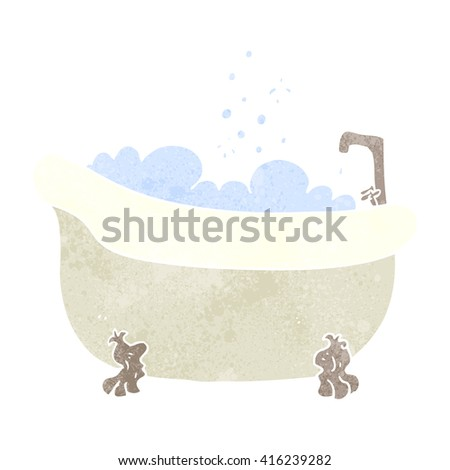 freehand retro cartoon bath full of water - stock vector