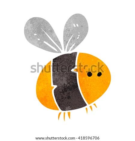 freehand retro cartoon bee - stock vector