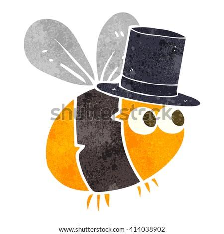 freehand retro cartoon bee top hat - stock vector