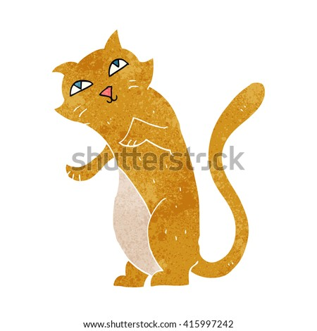 freehand retro cartoon cat - stock vector