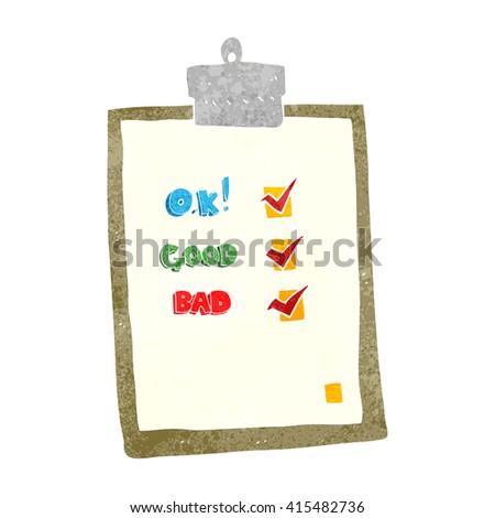 freehand retro cartoon check list - stock vector