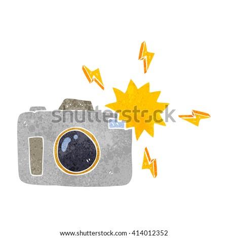 freehand retro cartoon flashing camera - stock vector