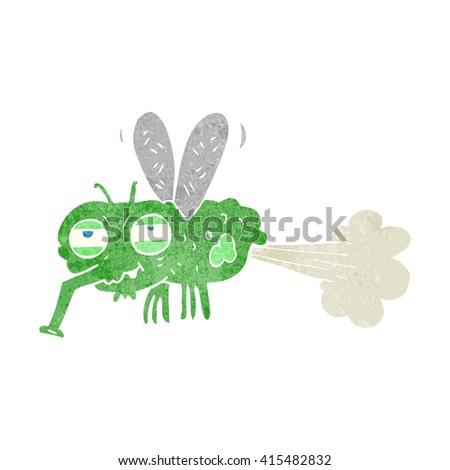 freehand retro cartoon gross farting fly - stock vector