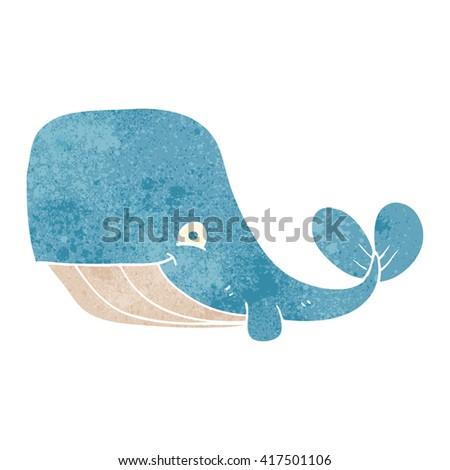 freehand retro cartoon happy whale - stock vector