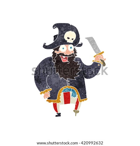 freehand retro cartoon pirate captain