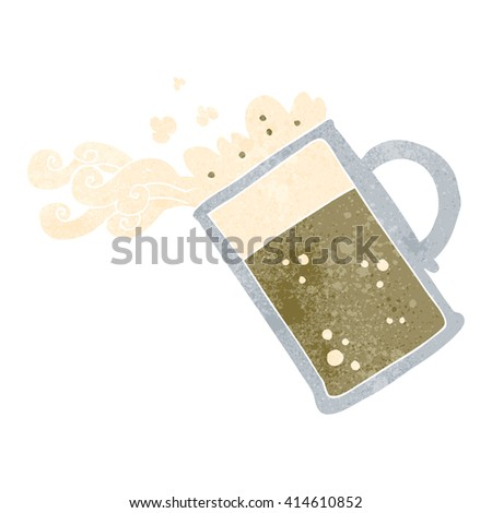 freehand retro cartoon pouring beer - stock vector