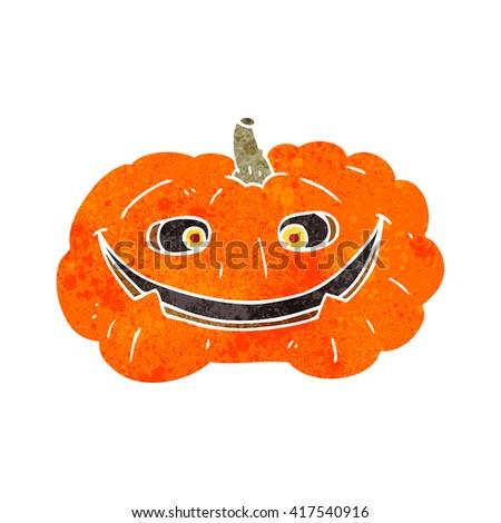freehand retro cartoon pumpkin - stock vector