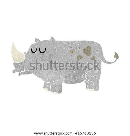 freehand retro cartoon rhino - stock vector