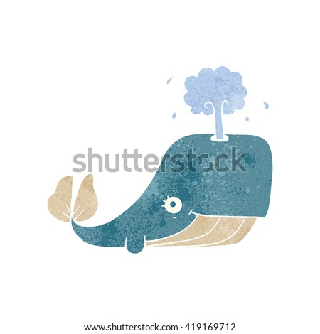 freehand retro cartoon whale spouting water - stock vector
