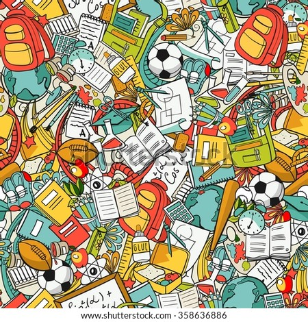 freehand school items in a pile, seamless pattern - stock vector