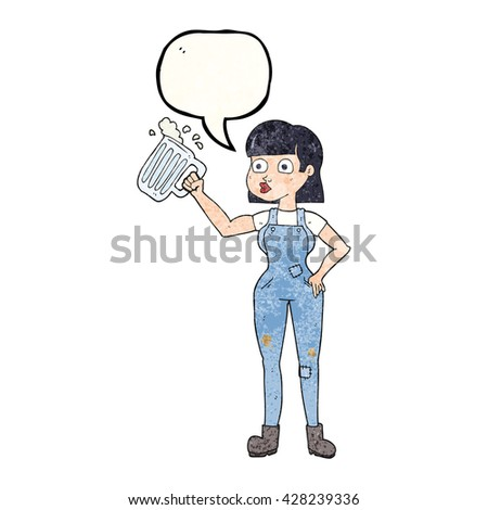 freehand speech bubble textured cartoon woman with beer