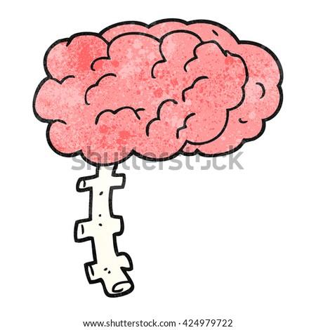 freehand textured cartoon brain - stock vector