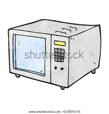 freehand textured cartoon microwave