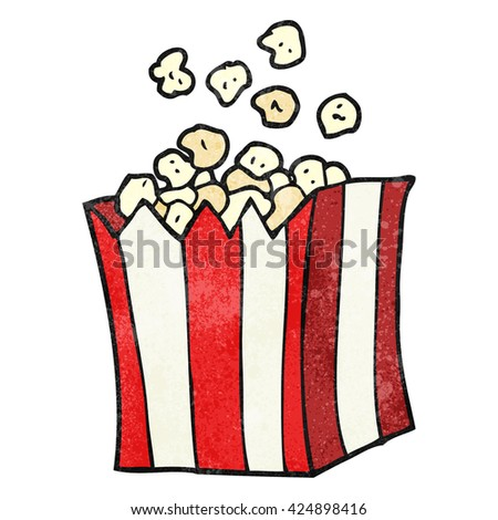 freehand textured cartoon popcorn - stock vector